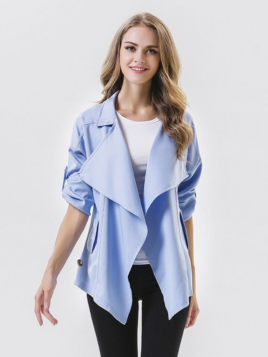 shestar wholesale Lapel Collar Plain Blazer Windbreaker