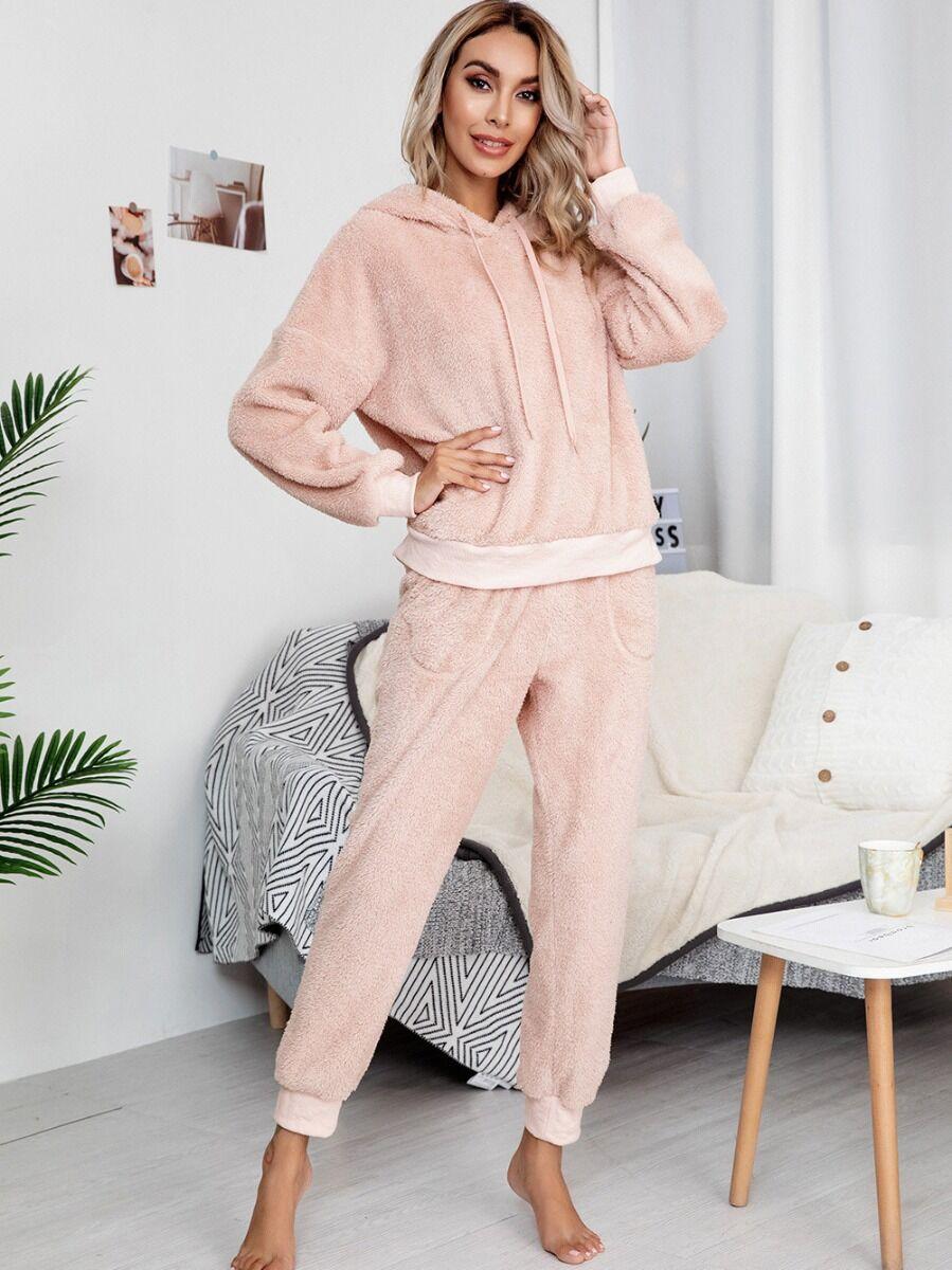 shestar wholesale 2 Pieces Plush Hooded Sweatshirt And Pants Homewear Set