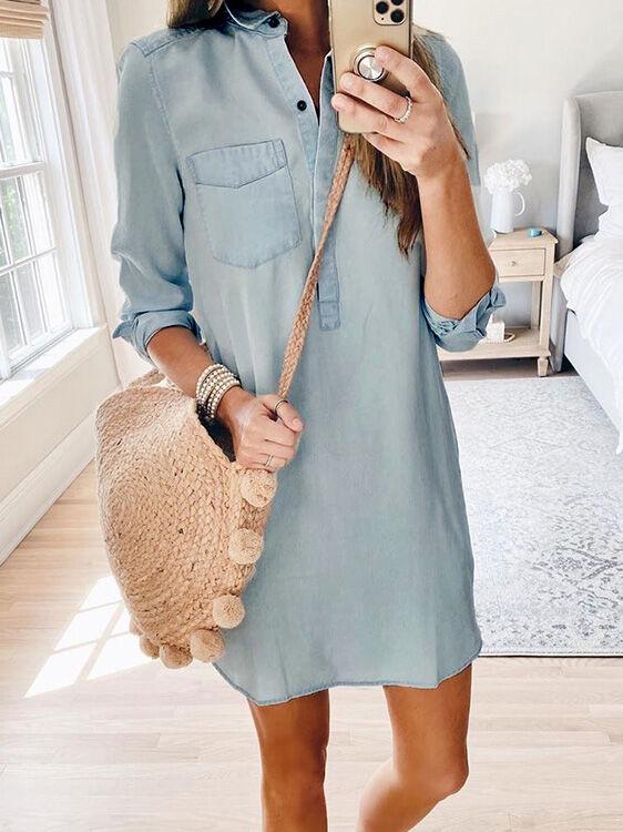shestar wholesale Lapel Collar Button Denim Shirt Dress