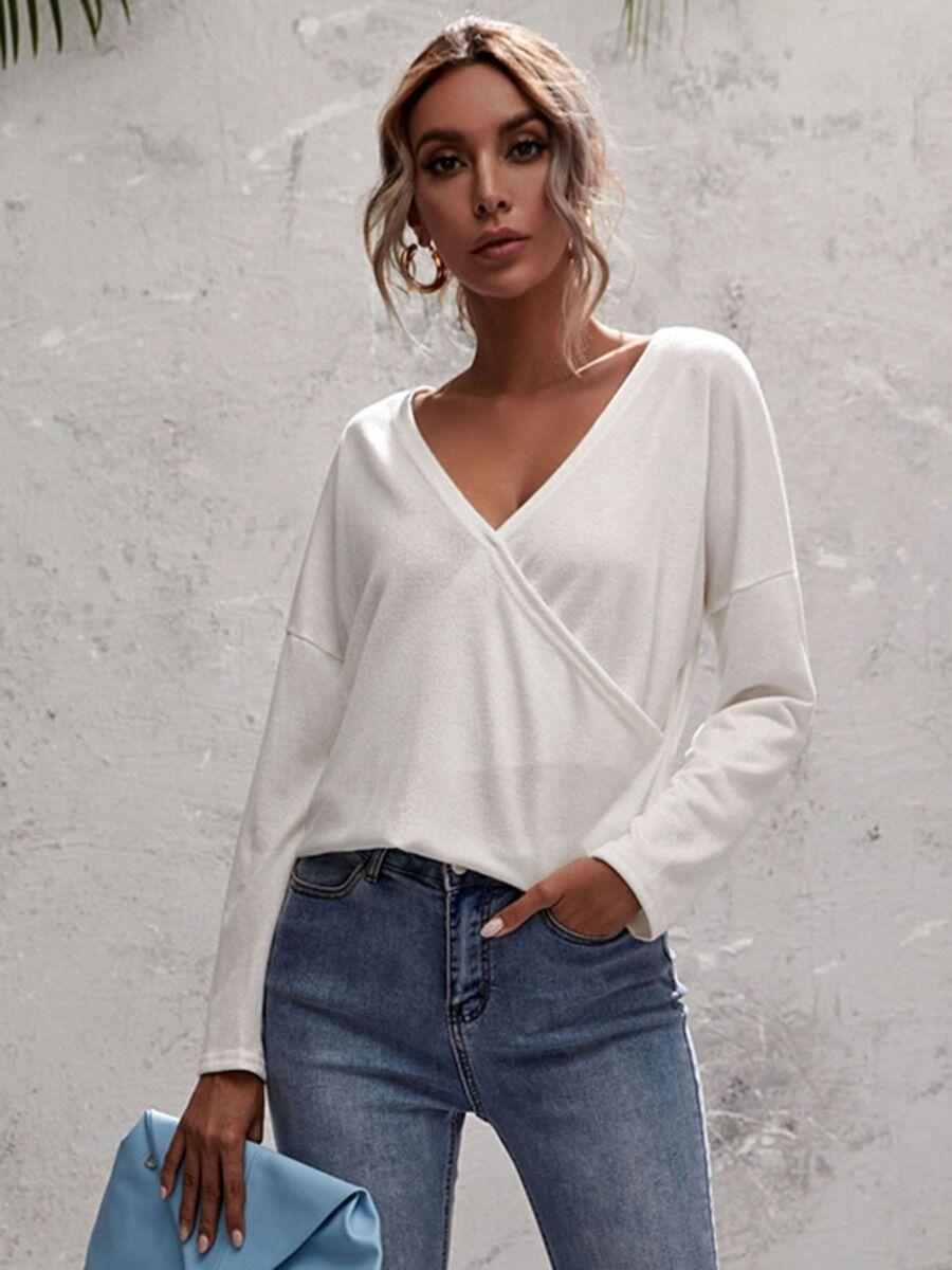 shestar wholesale Drop Sleeve Surplice Neck Plain T-shirt