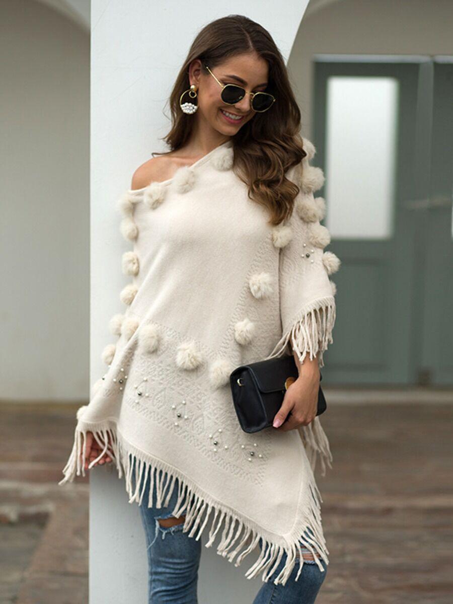 shestar wholesale Pom Pom Beading Tassel Shawl Cloak Sweater