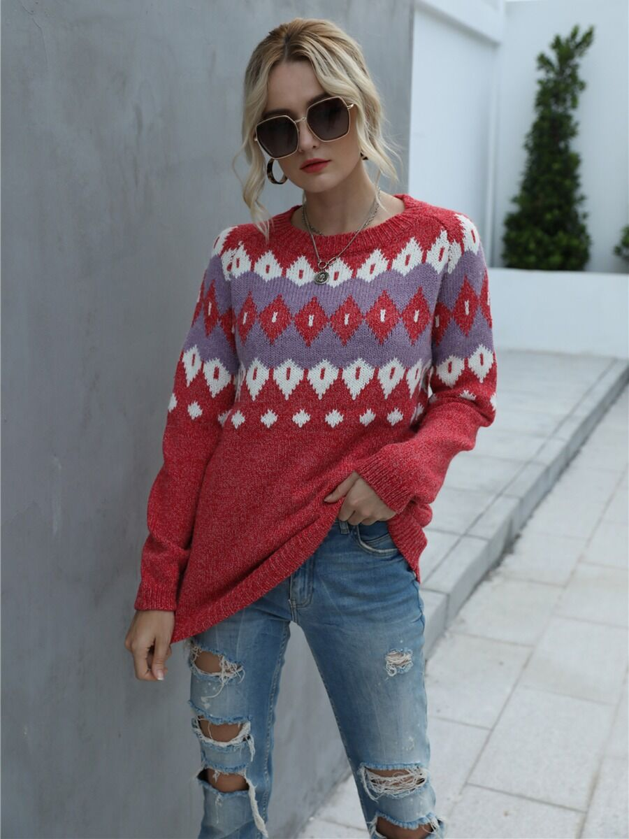 shestar wholesale Christmas Geometric Pattern Knitting Sweater