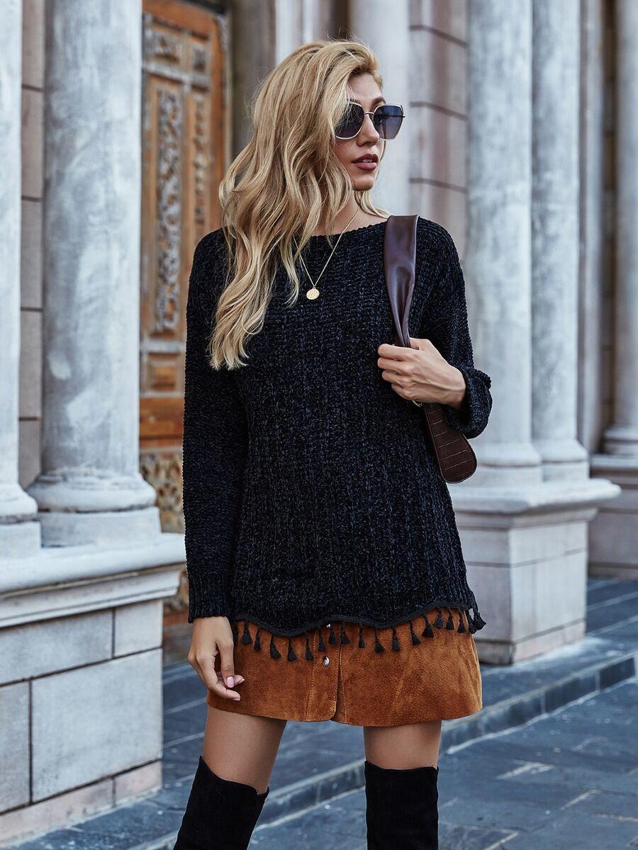 Drop Sleeve Fringe Trim Crystal Velvet Knit Sweater
