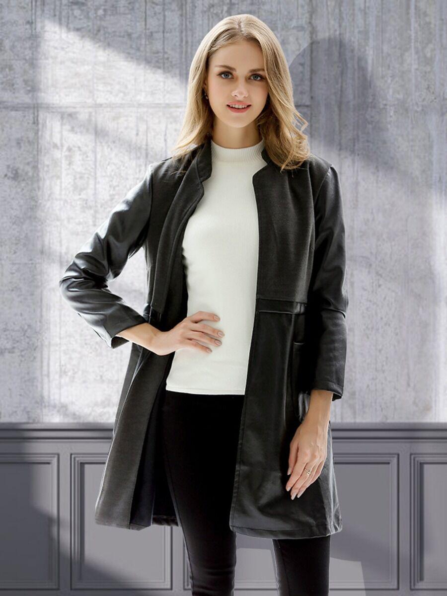 shestar wholesale Stand Collar Black Leather Windbreaker