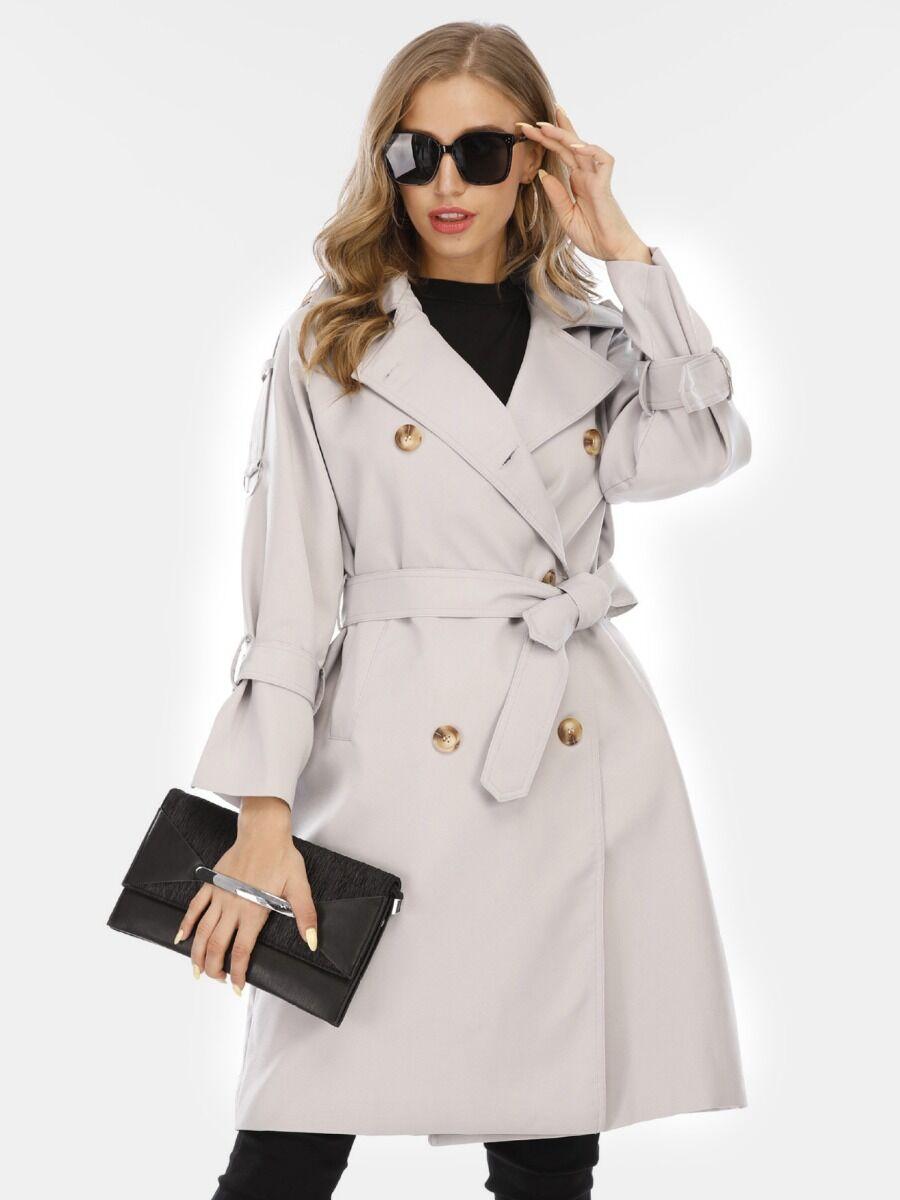 shestar wholesale Double-breasted Windbreaker Jacket With Belt