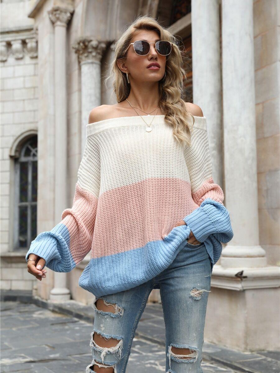 shestar wholesale Off Shoulder Colorblock Crochet Sweater