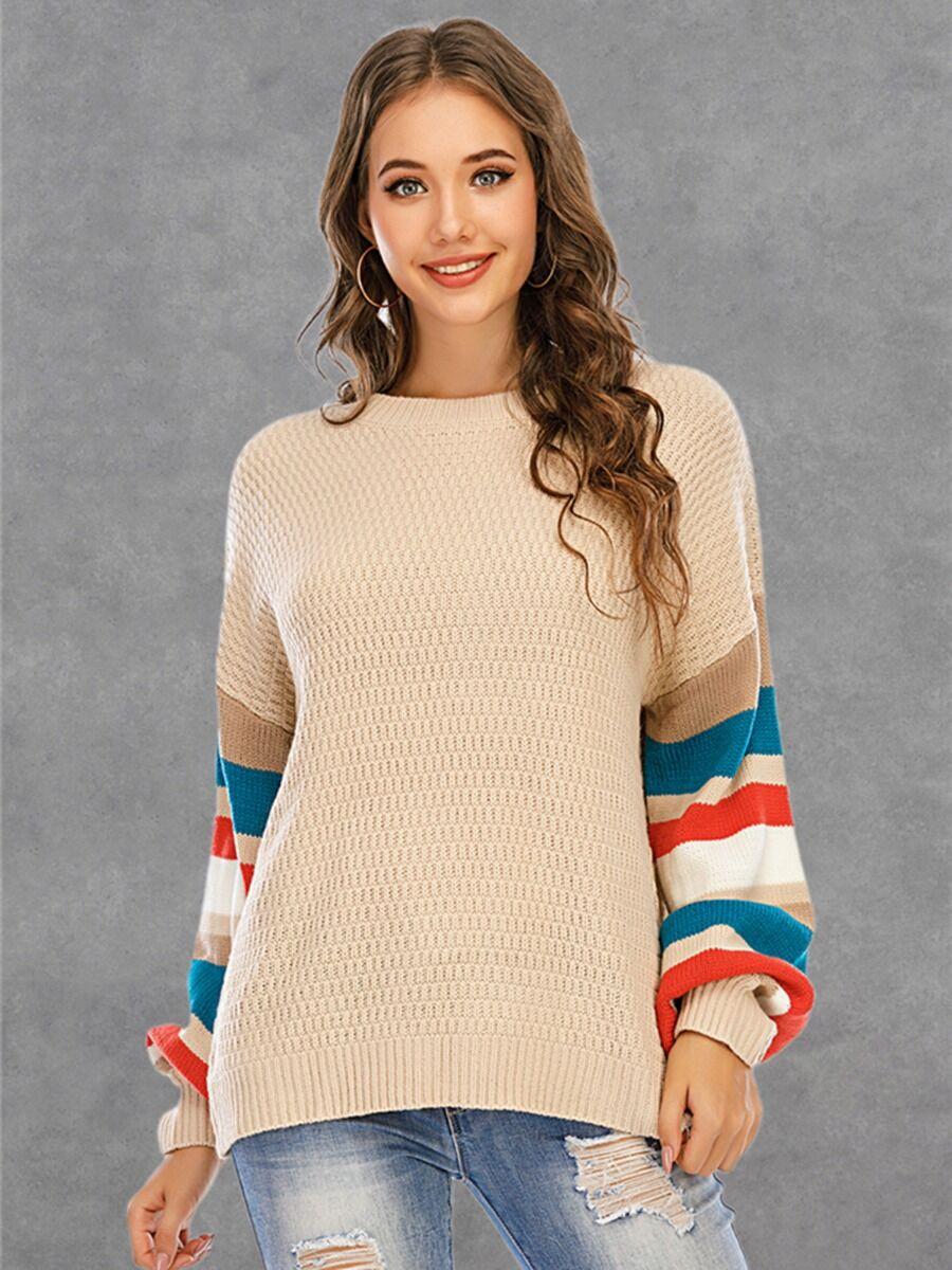 shestar wholesale Rainbow Sleeve Crochet Sweater