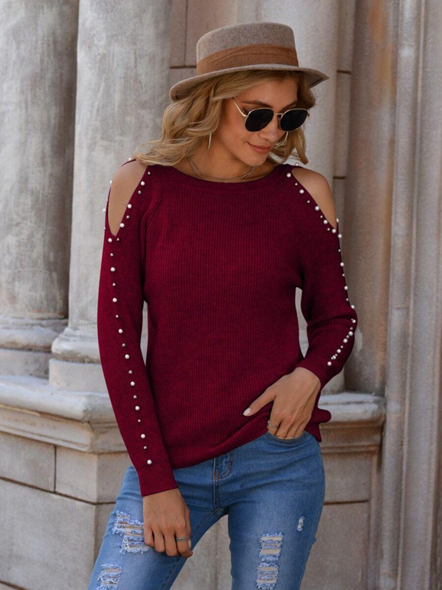 shestar wholesale Cold Shoulder Pearl Sleeve Rib-knit Top