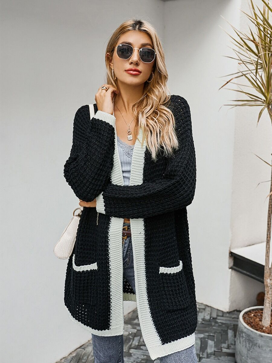 shestar wholesale Color Blocking Crochet Pocket Cardigan