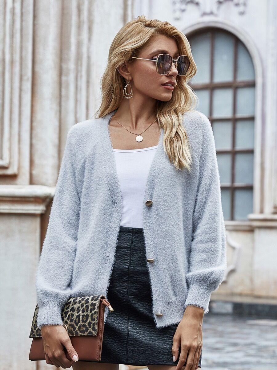 shestar wholesale Pure Color Plush Sweater Cardigan