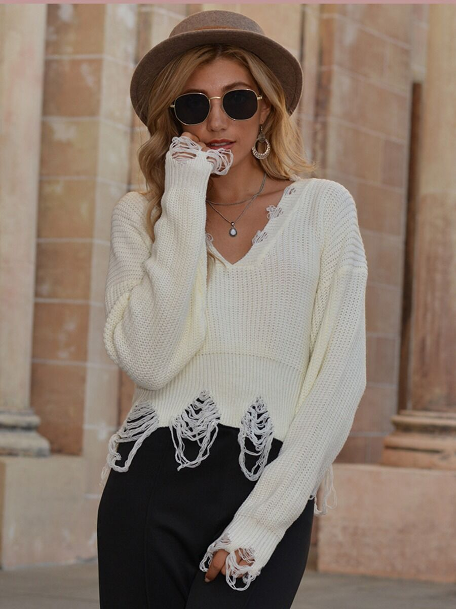 shestar wholesale V-collar Fringe Trim Crochet Sweater