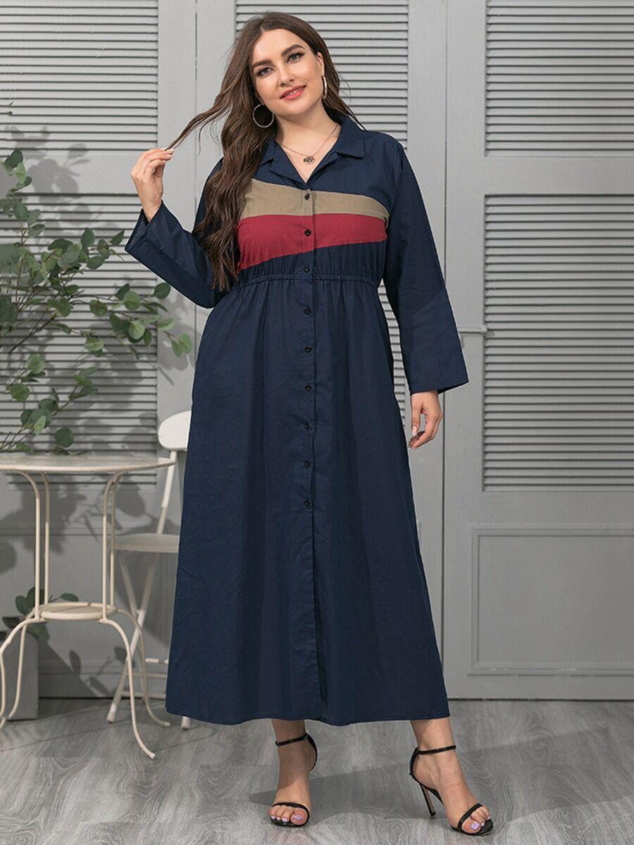 shestar wholesale Plus Size Colorblock Shirt Dress