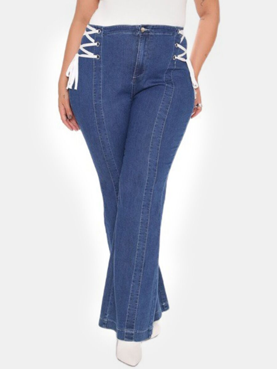 shestar wholesale Plus Size Lace-up Bell bottomed Jeans
