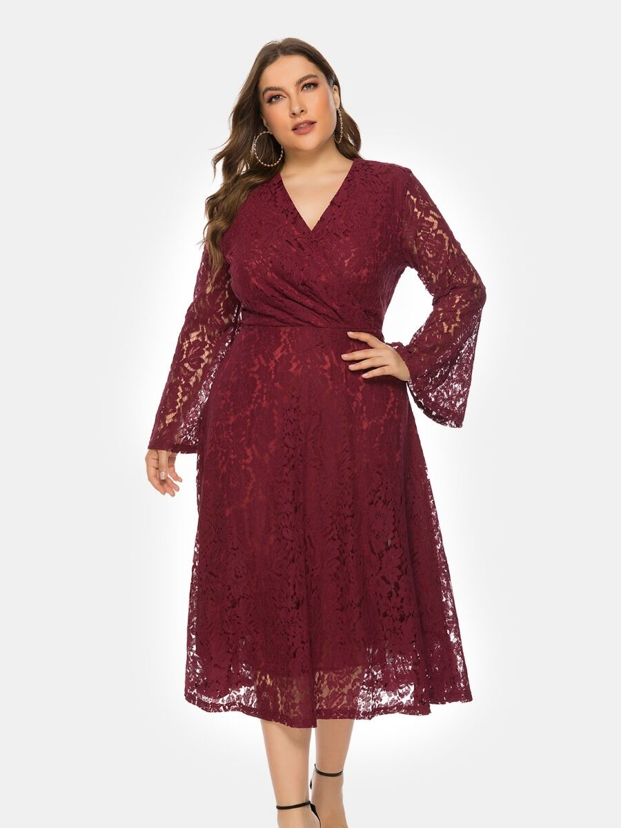 shestar wholesale Elegant Surplice Neck Lace Oversized Prom Dress