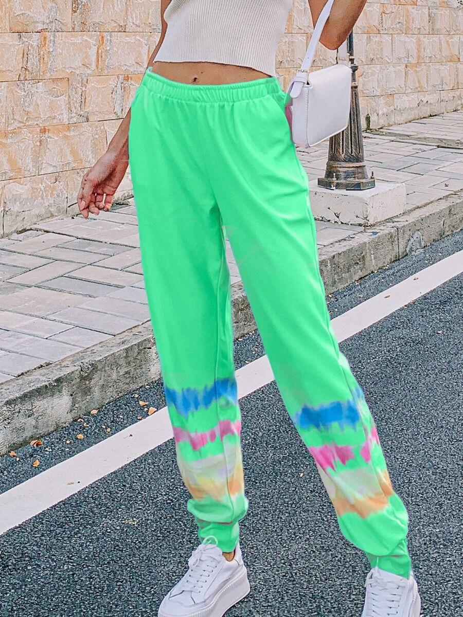 shestar wholesale Elastic Waist Tie-dye Sweat Harem Pants