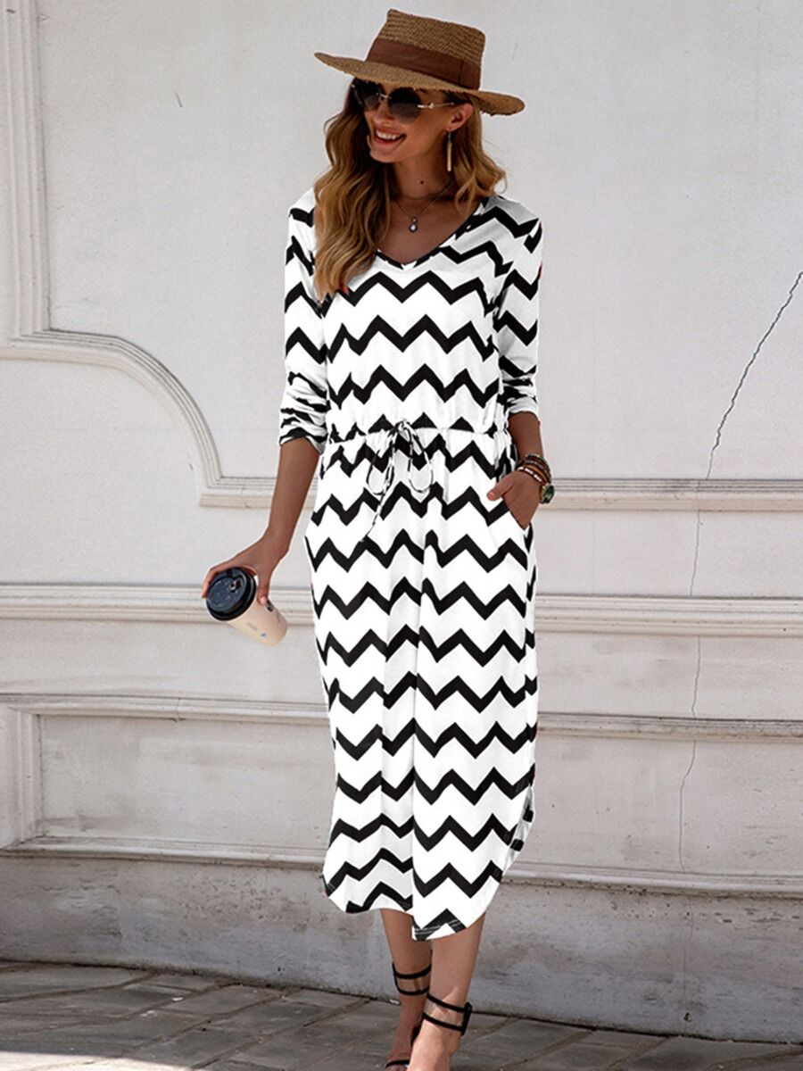 shestar wholesale Elastic Waist Curved Hem Wave Stripe Tee Dress