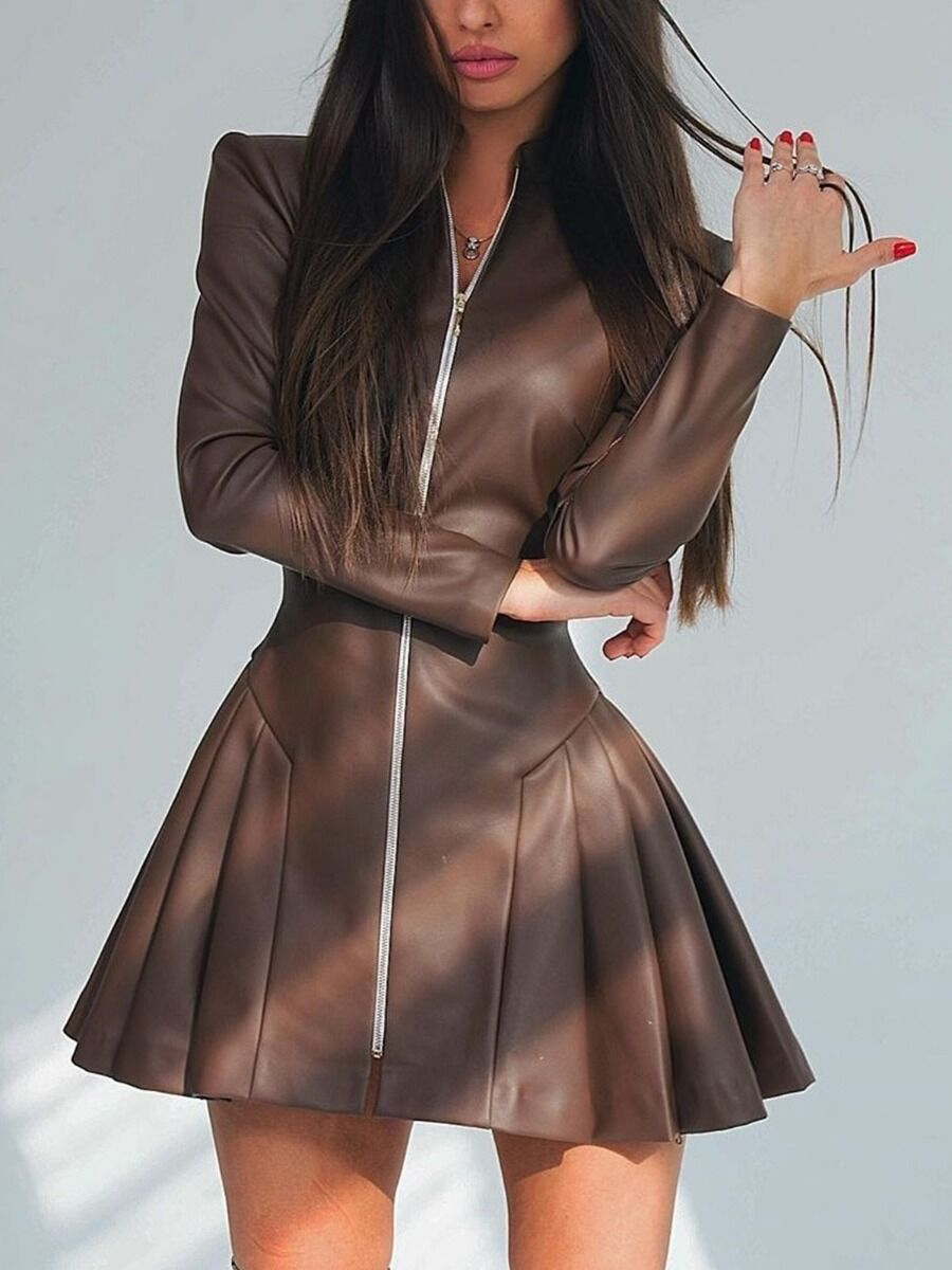 shestar wholesale Stand Collar Zip Up Leather Pleated Dress