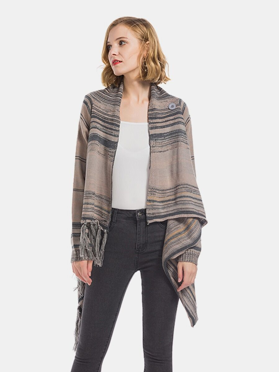 shestar wholesale Tassel Hem Knitting Wrapped Shawl Cardigan