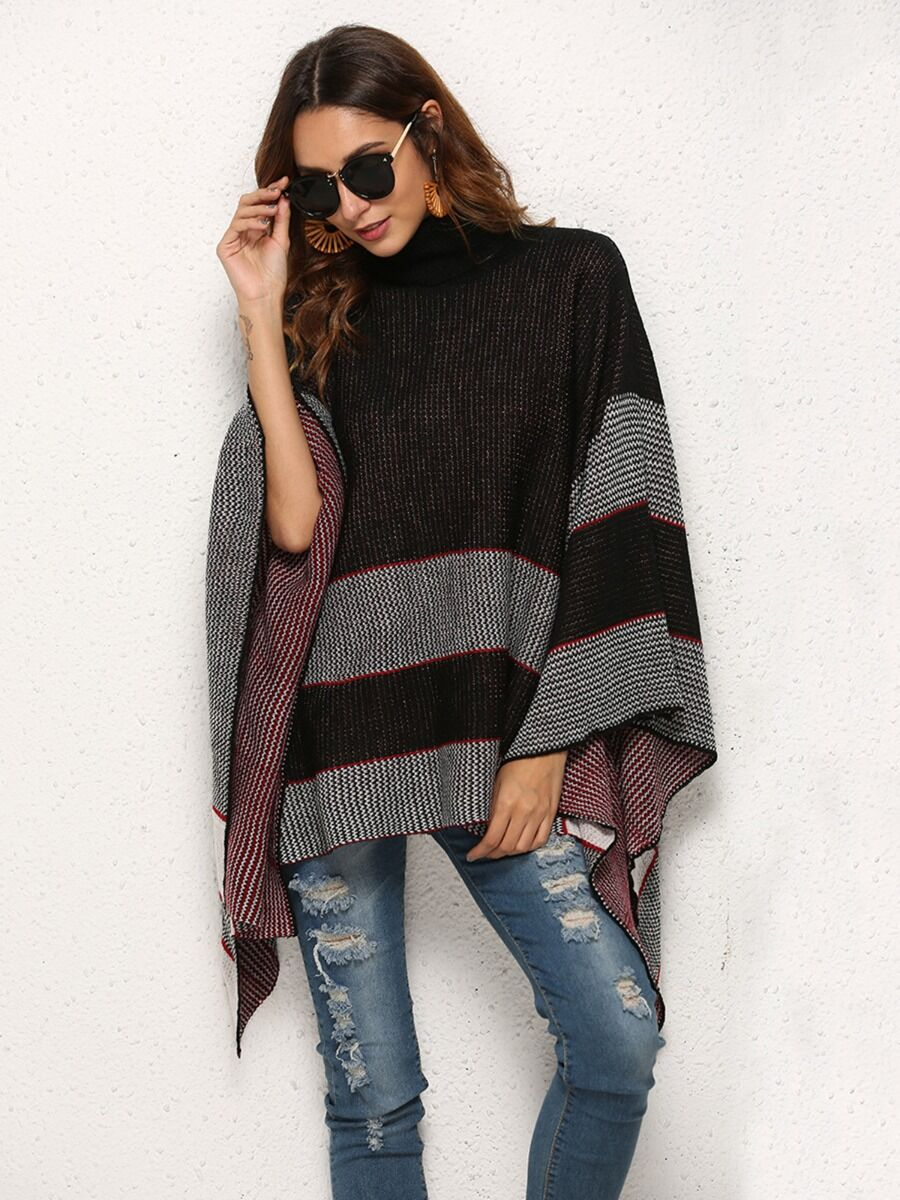 shestar wholesale Fringe Hem Turtleneck Stripe Cloak Sweater