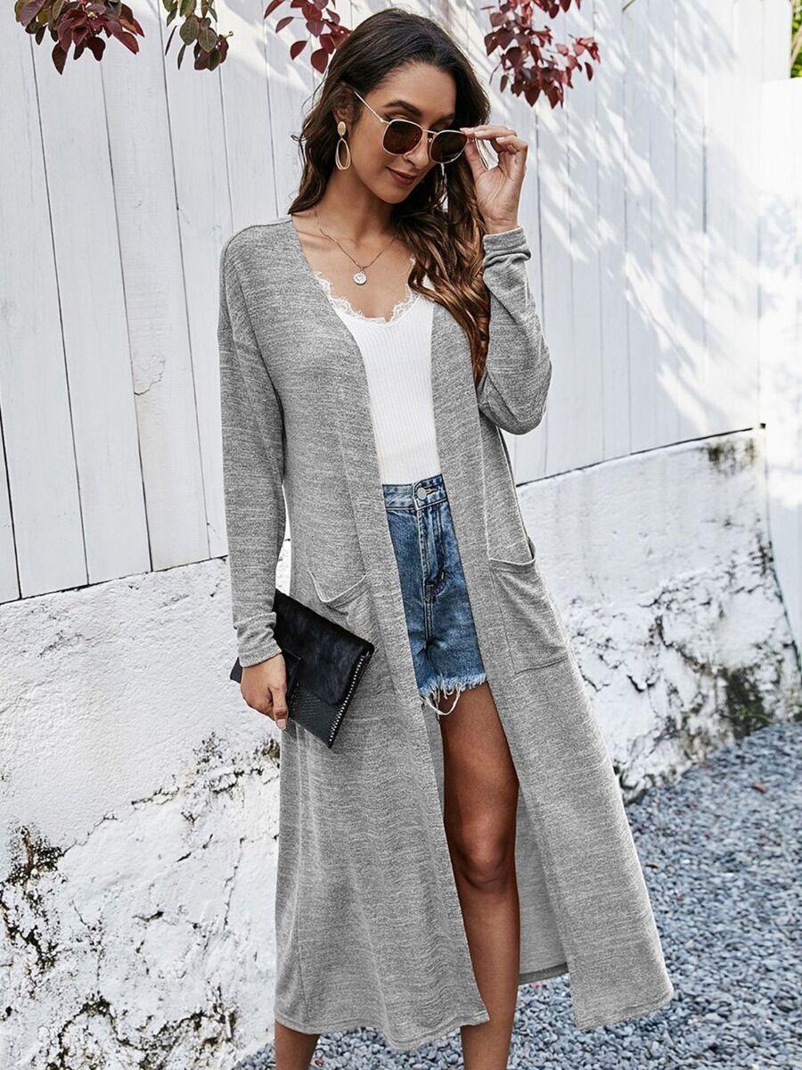 shestar wholesale Women Double-pocket Plain Longline Knit Cardigan