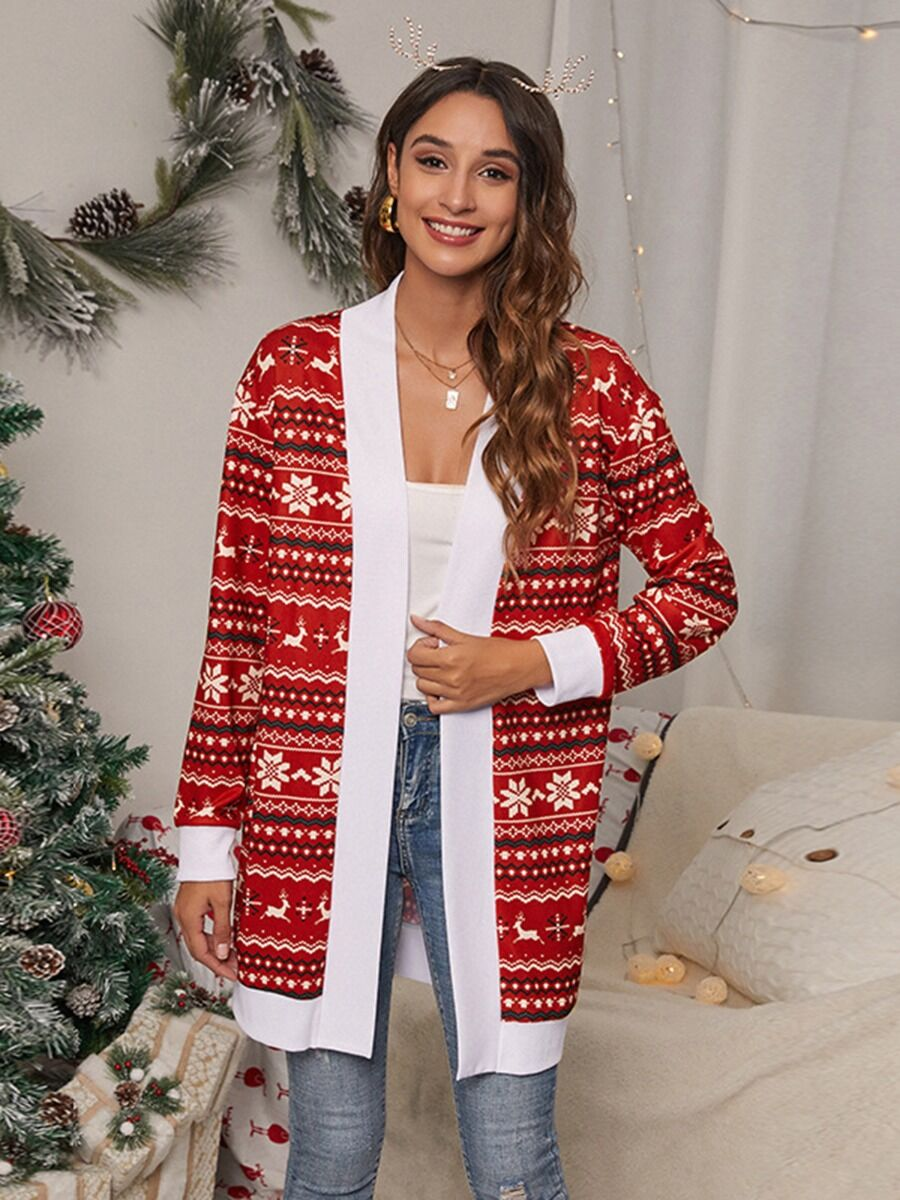 shestar wholesale All-over Printed Christmas Jersey Cardigan