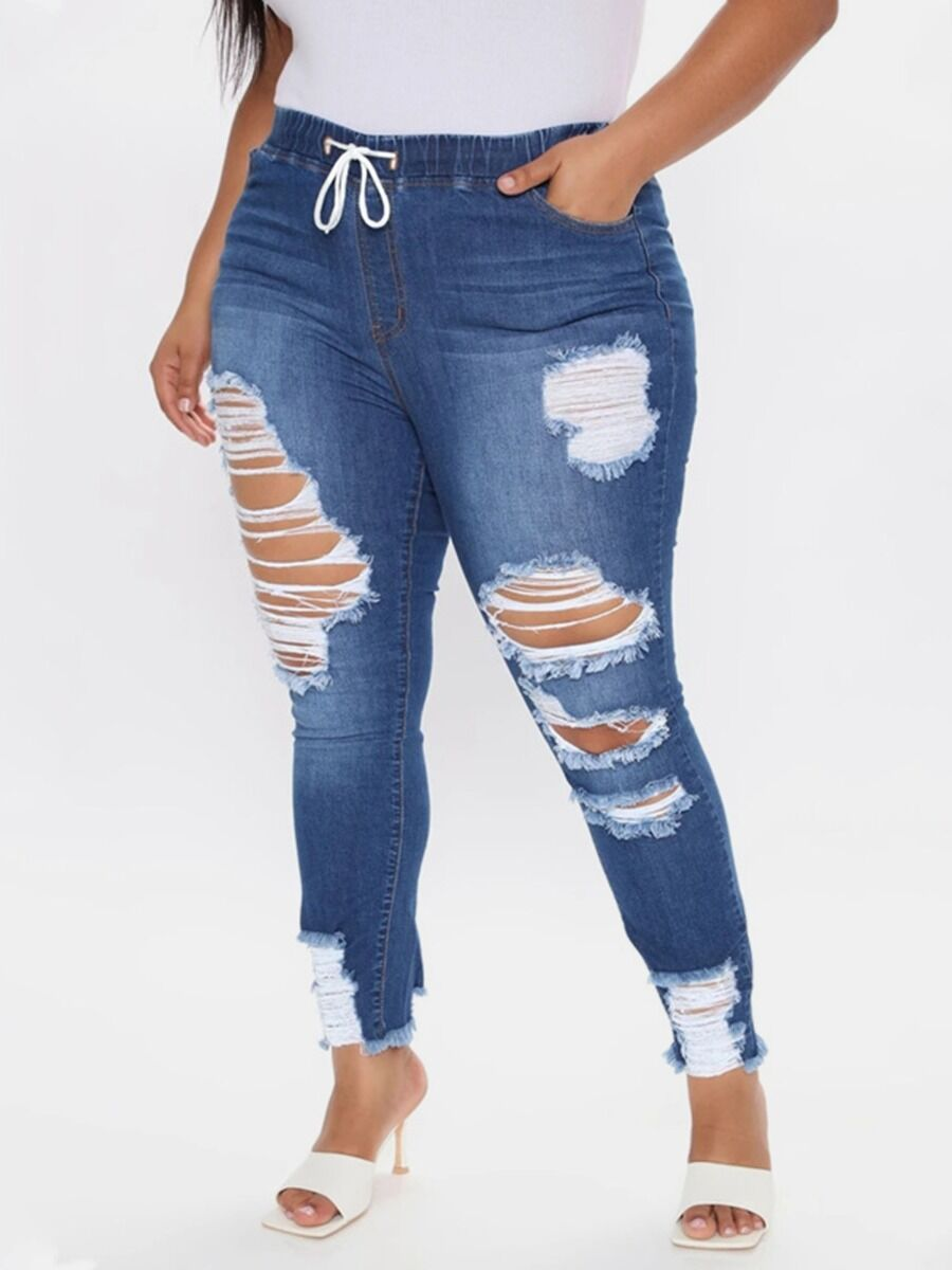 shestar wholesale Plus Size Elastic Waist Fringe Ripped Denim Pants
