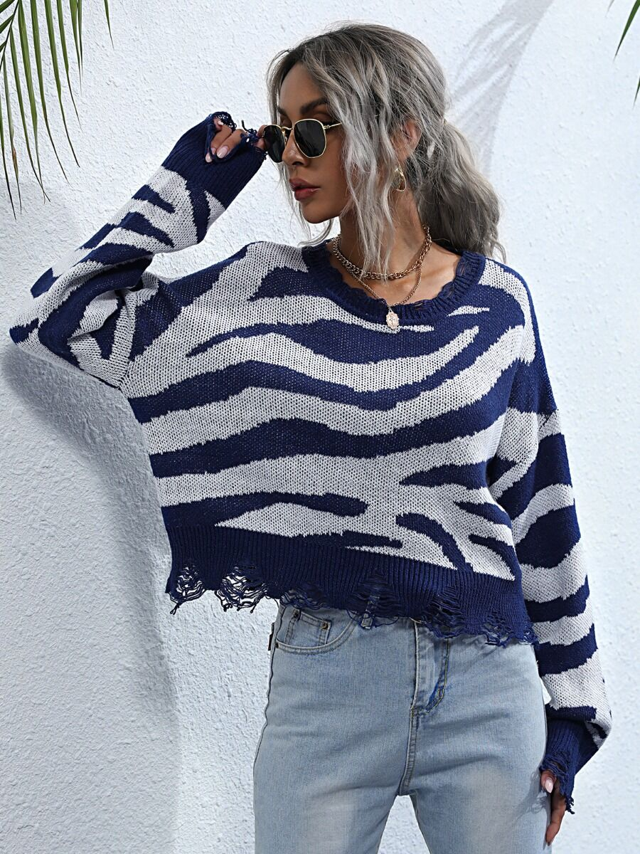 shestar wholesale Round Collar Zebra Stripe Ripped Sweater