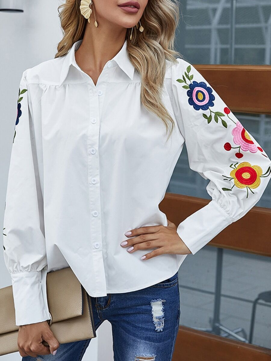 shestar wholesale womens clothing Raglan Sleeve Flower Embroidery White Shirt