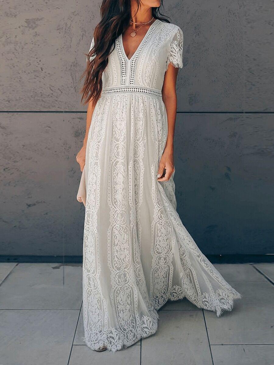 shestar wholesale V-neck Flutter Sleeve Lace Mesh Embroidered Maxi Dress