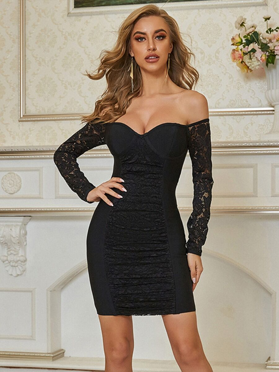 shestar wholesale Sexy Sweetheart Collar Lace Sleeve Bodycon Prom Dress