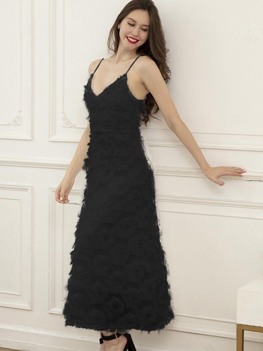 shestar wholesale V Collar Feather Trim Party Spaghetti Strap Dress