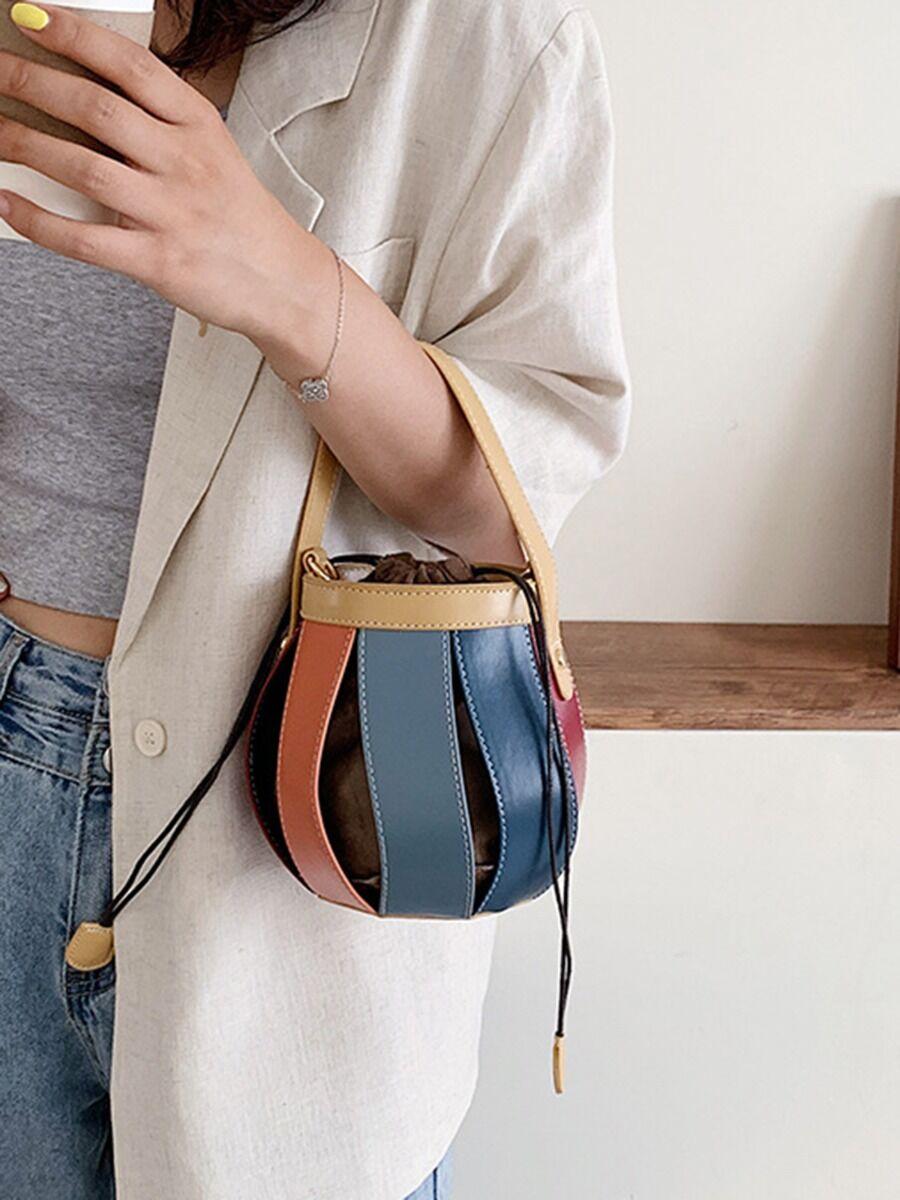 shestar wholesale Tassel Trim Leather Crossbody Bucket Bag