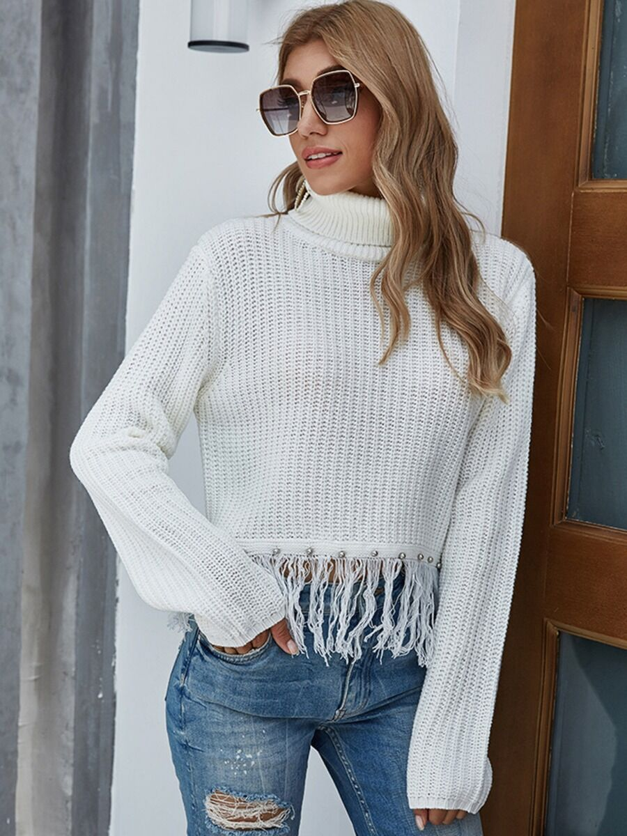 shestar wholesale High Collar Tassel Beading Crochet Sweater