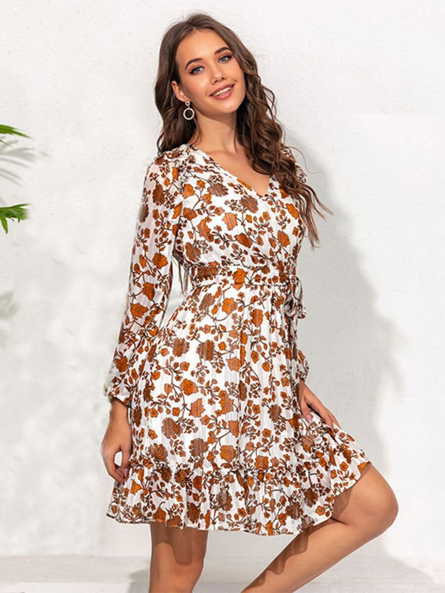 shestar wholesale lantern sleeve v-neck belted floral flounce dress
