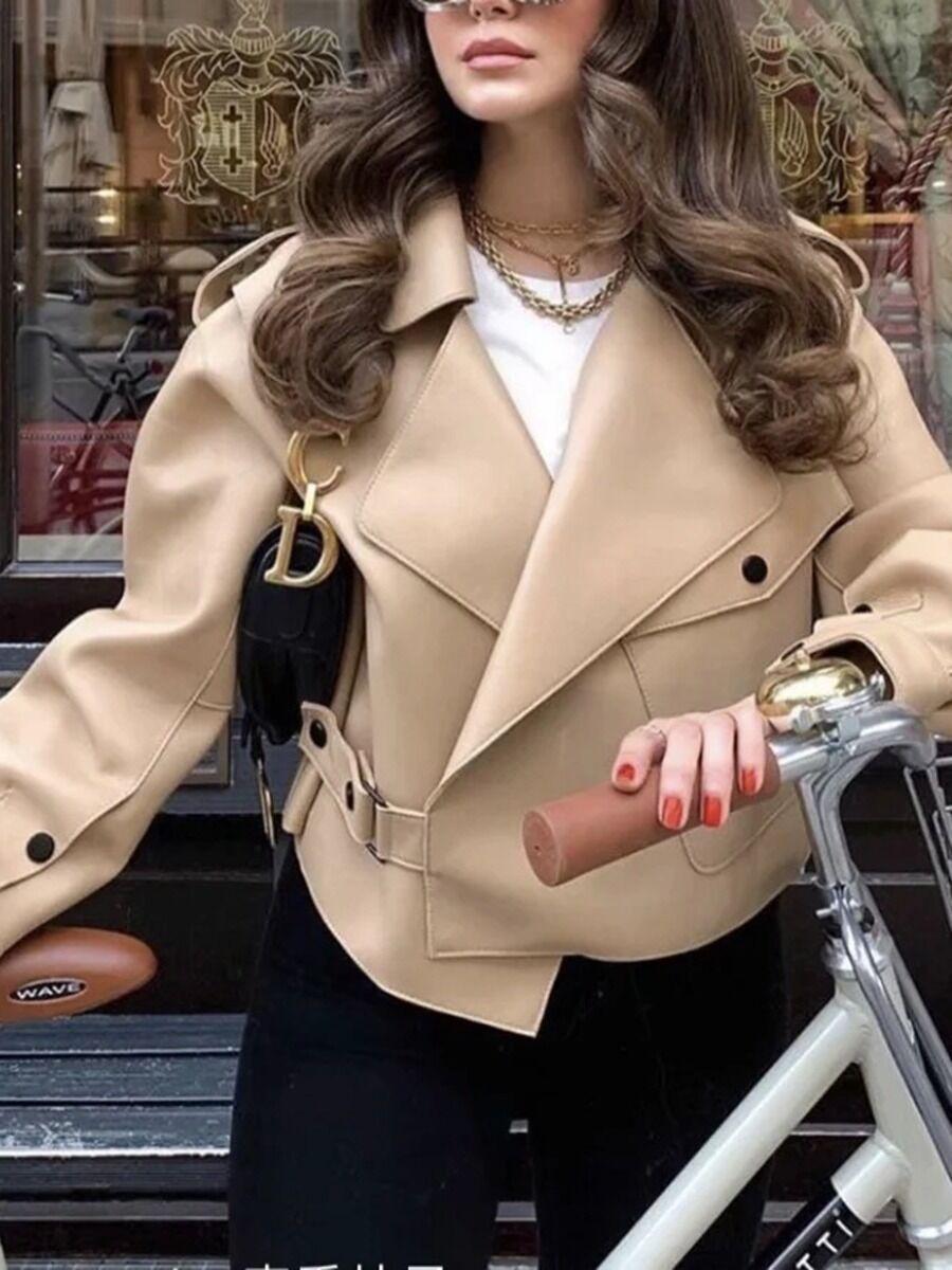 shestar wholesale Lapel Collar Slant Buckle Leather Biker Jacket