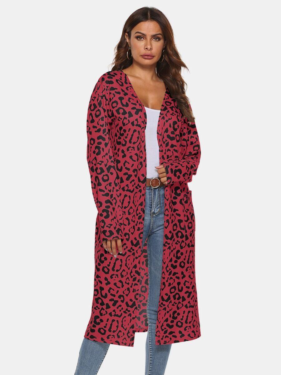 shestar wholesale All Match Leopard Print Jersey Pocket Cardigan