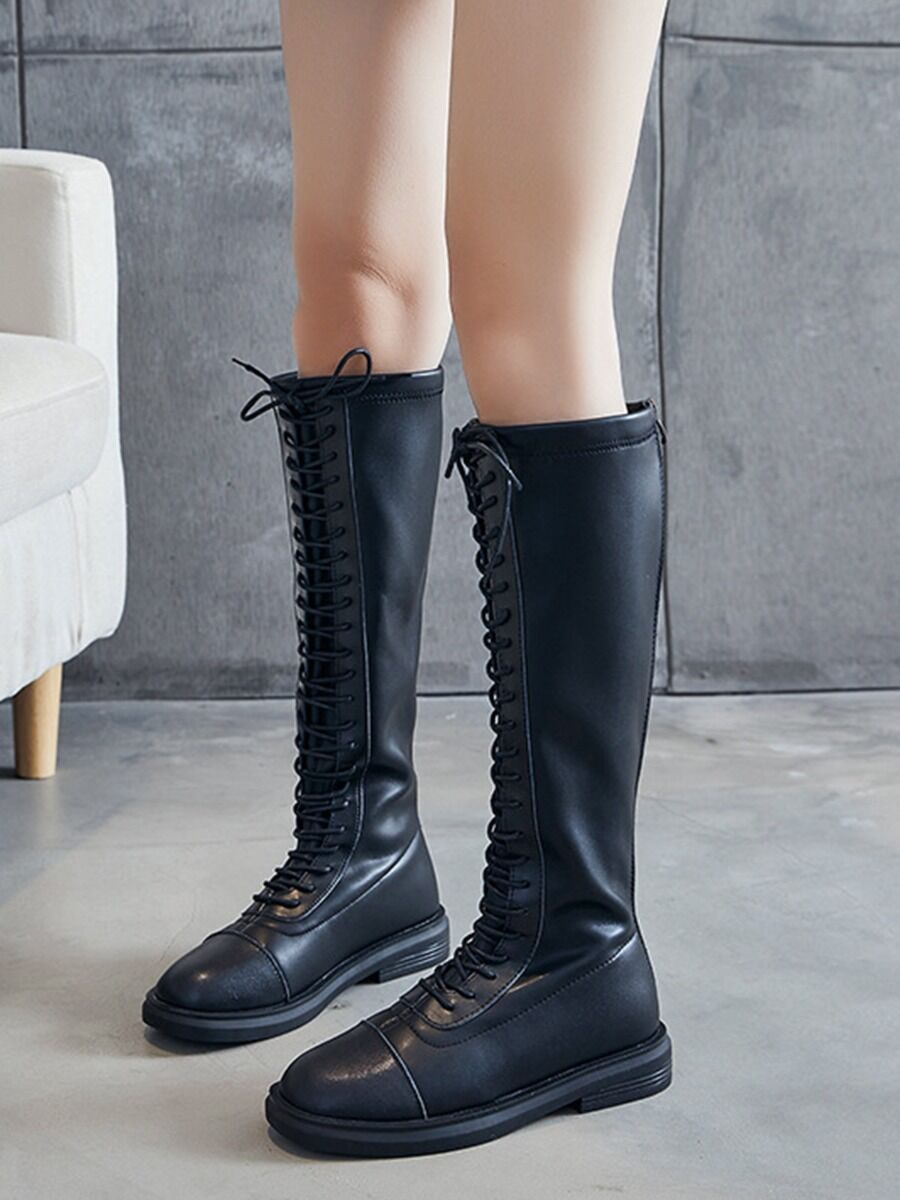 shestar wholesale Zipper Back Lace-up Leather Plush Rider Boots