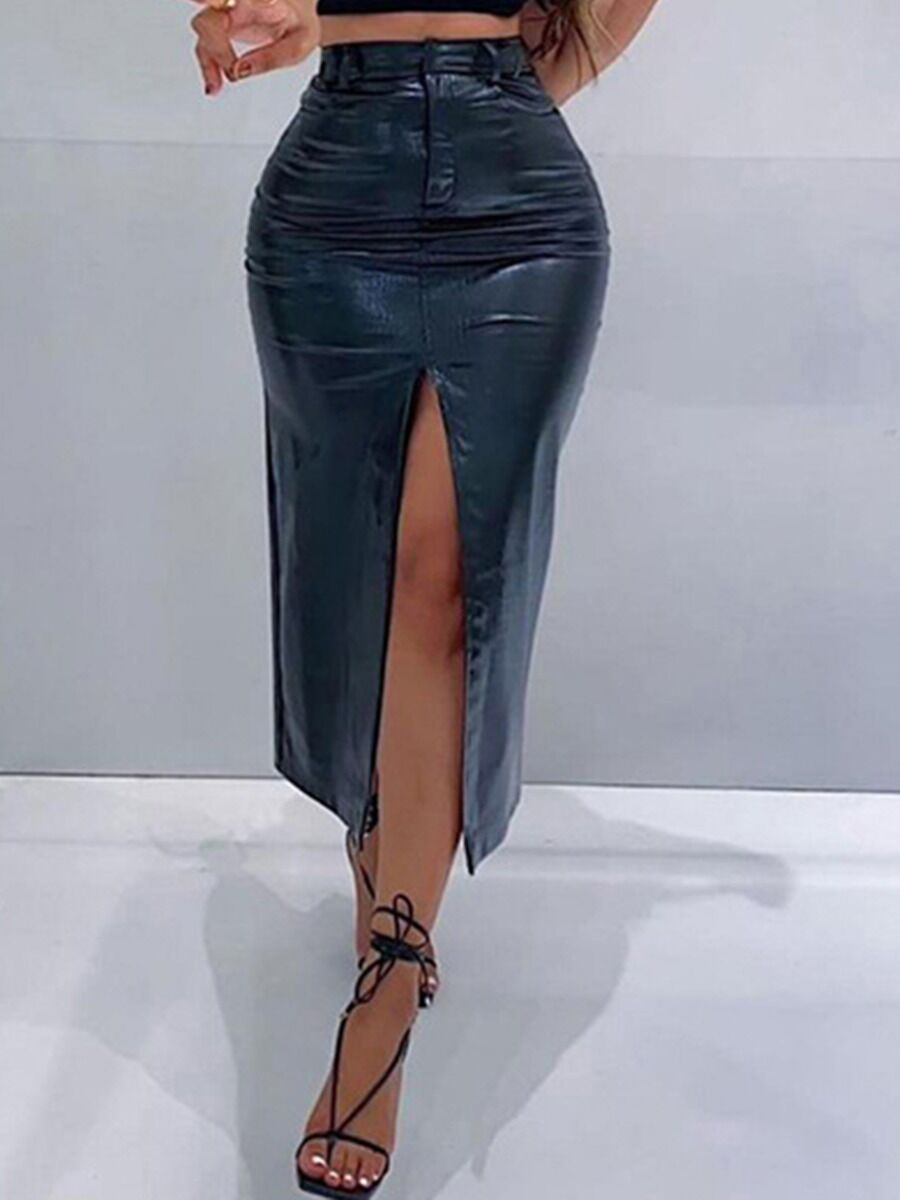 shestar wholesale High Waist Faux Leather Split Skirt