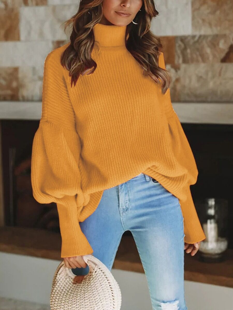 shestar wholesale bishop sleeve solid turtleneck knitting sweater