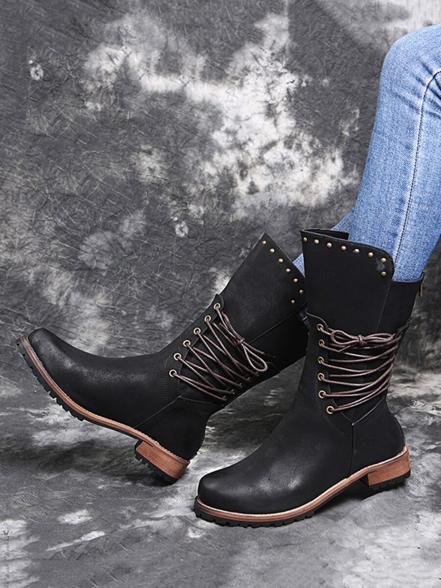 shestar wholesale Lace-up Side Studded Trim Leather Boots