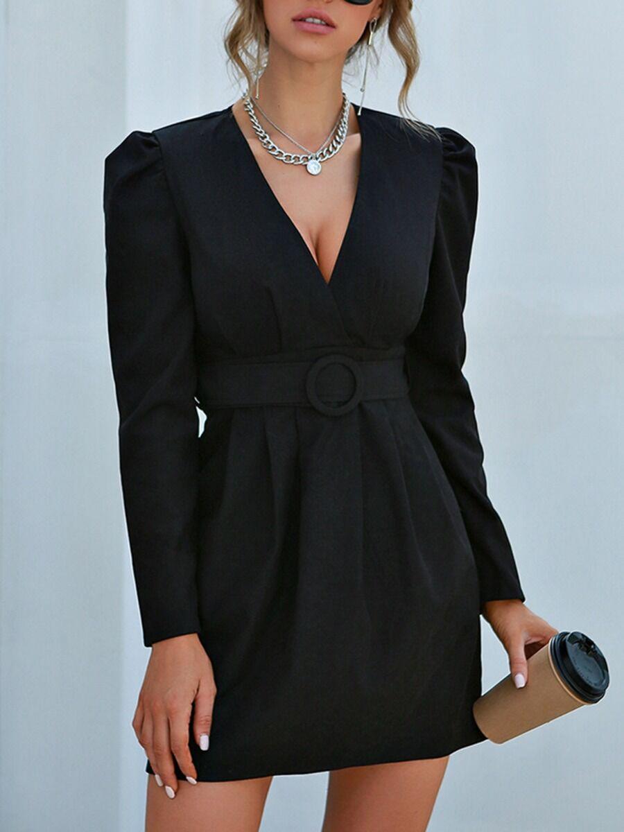 shestar wholesale V Collar Frill Trim Belted Women Dress