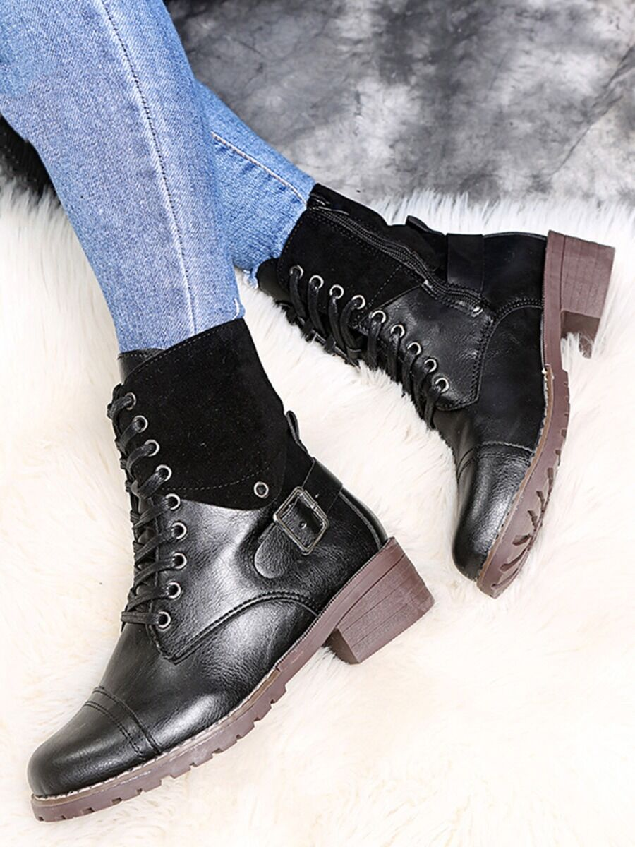 shestar wholesale Contrast Color Buckle Lace-up Martin Boots
