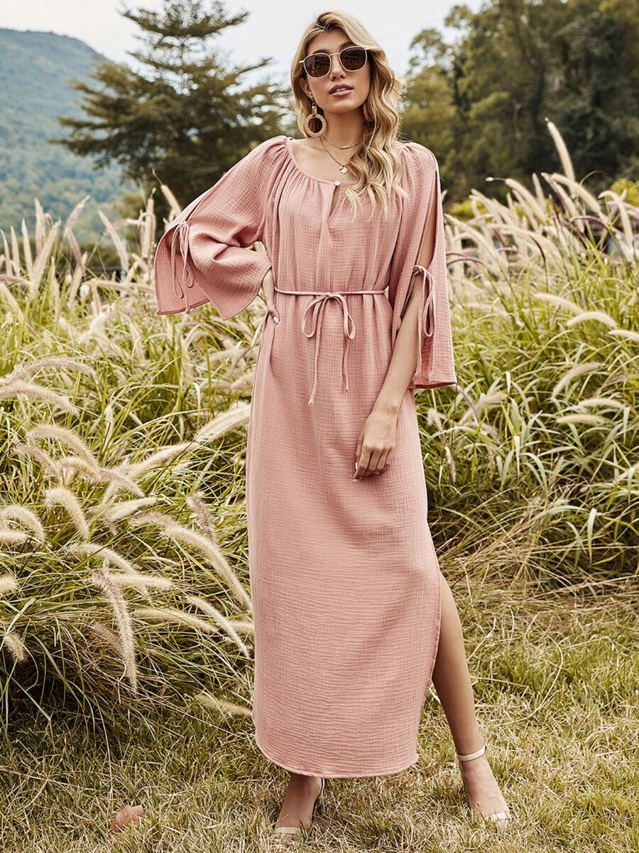 shestar wholesale Tie Sleeve Lace-up Split Cape Dress