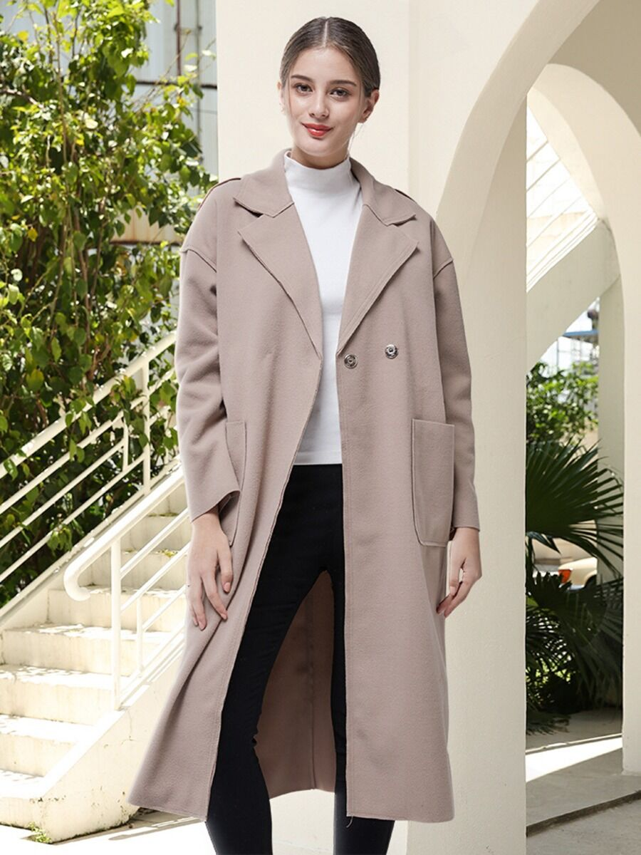 shestar wholesale notch collar tie up woolen overcoat