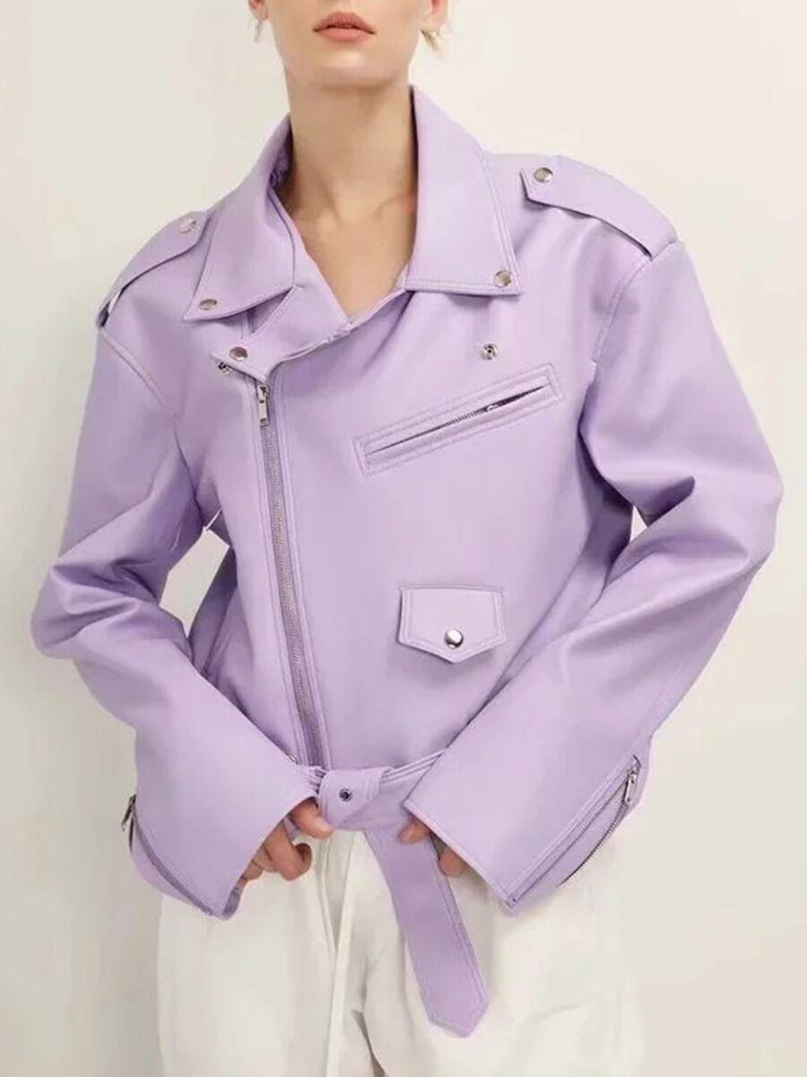 shestar wholesale Turn Down Collar Belted Leather Biker Jacket
