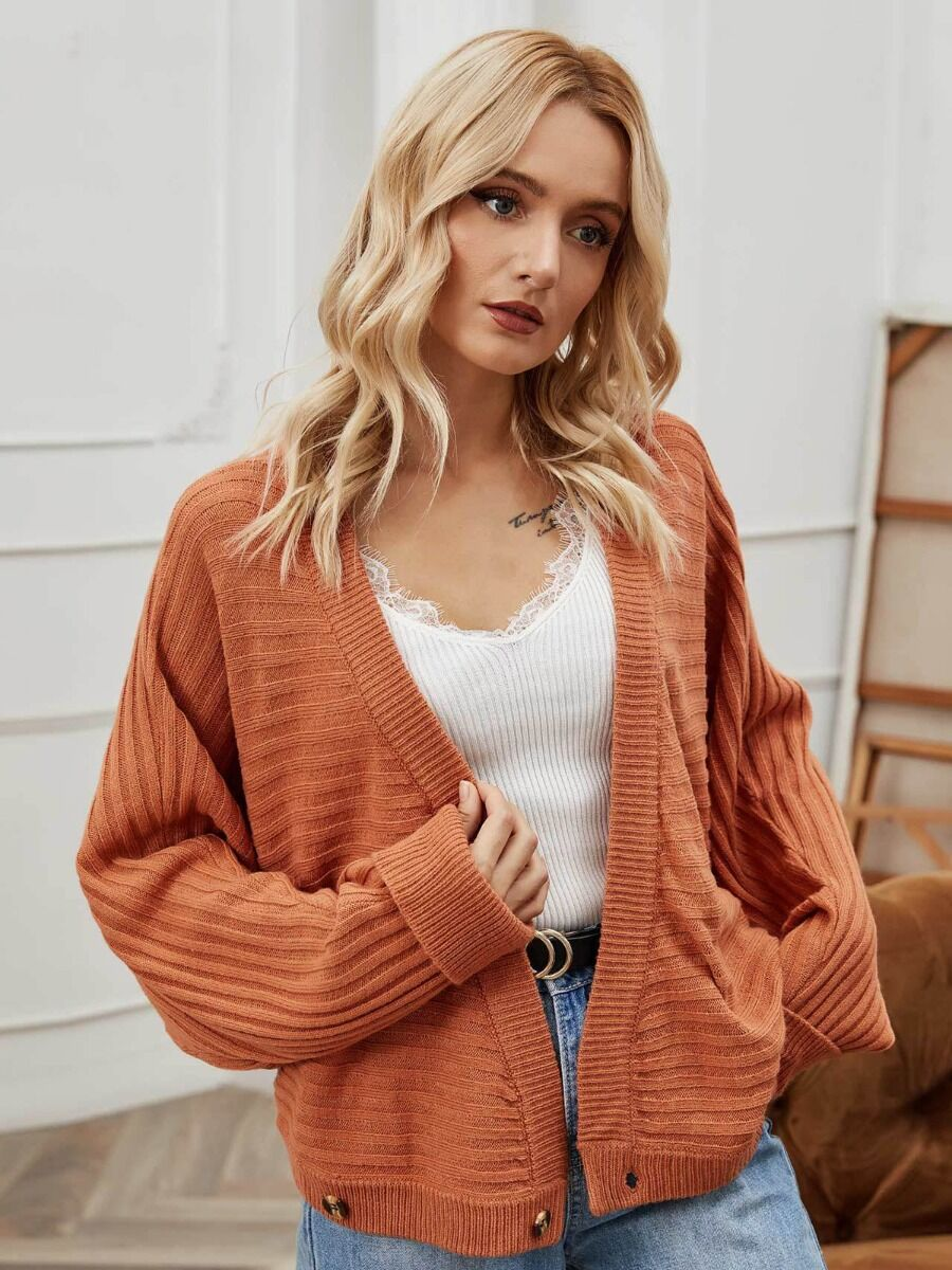 shestar wholesale Drop Sleeve Solid Textured Knitted Buttoned Sweater Cardigan