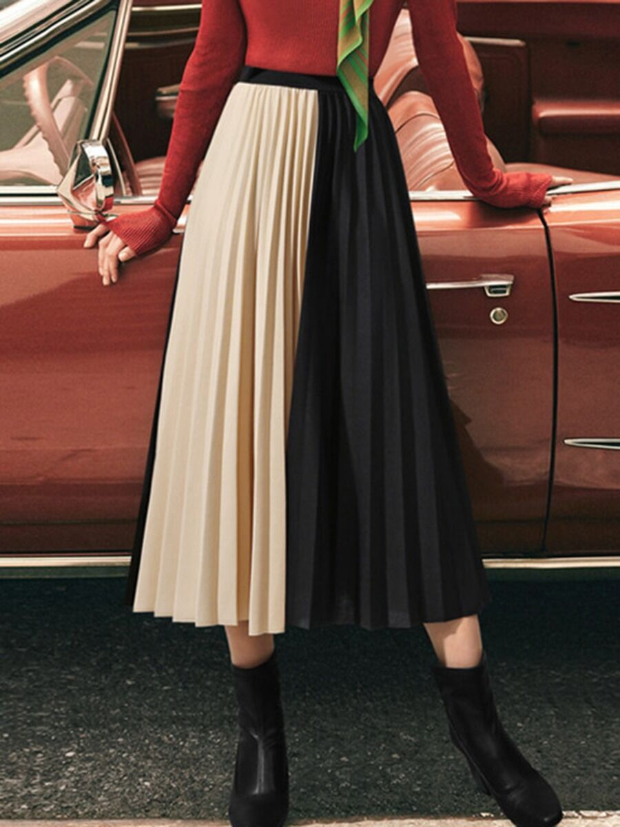 shestar wholesale High Rise Color Blocking Pleated Skirt