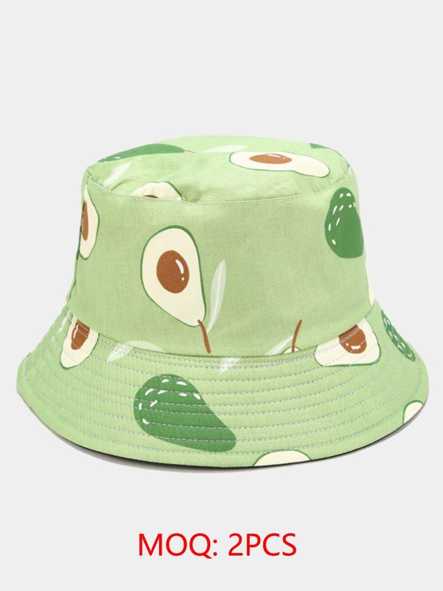 shestar wholesale Tropical Fruit Print Wide Brimmed Bucket Hat