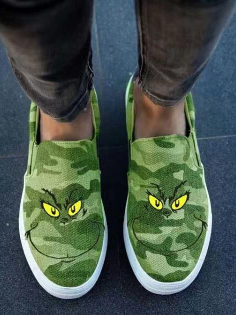 shestar wholesale Cartoon Grinch Pattern Canvas Shoes