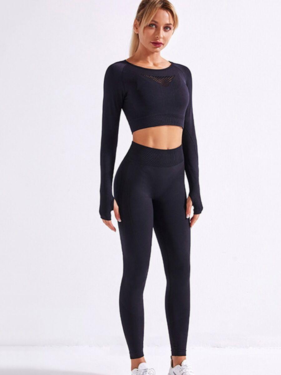 shestar wholesale 4 PCS Seamless Yoga Set Long Sleeve Top + Tank Top + Leggings + Shorts
